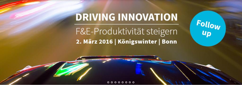 """Innovationskonferenz """"Driving Innovation"""" mit Innovationsberatung Tom Spike, 2. März 2016"""