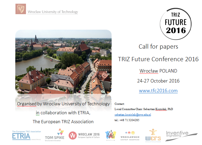 Call For Papers TRIZ Future 2016 Innovationskonferenz - Unterstützt Durch Die Innovationsberatung Tom Spike