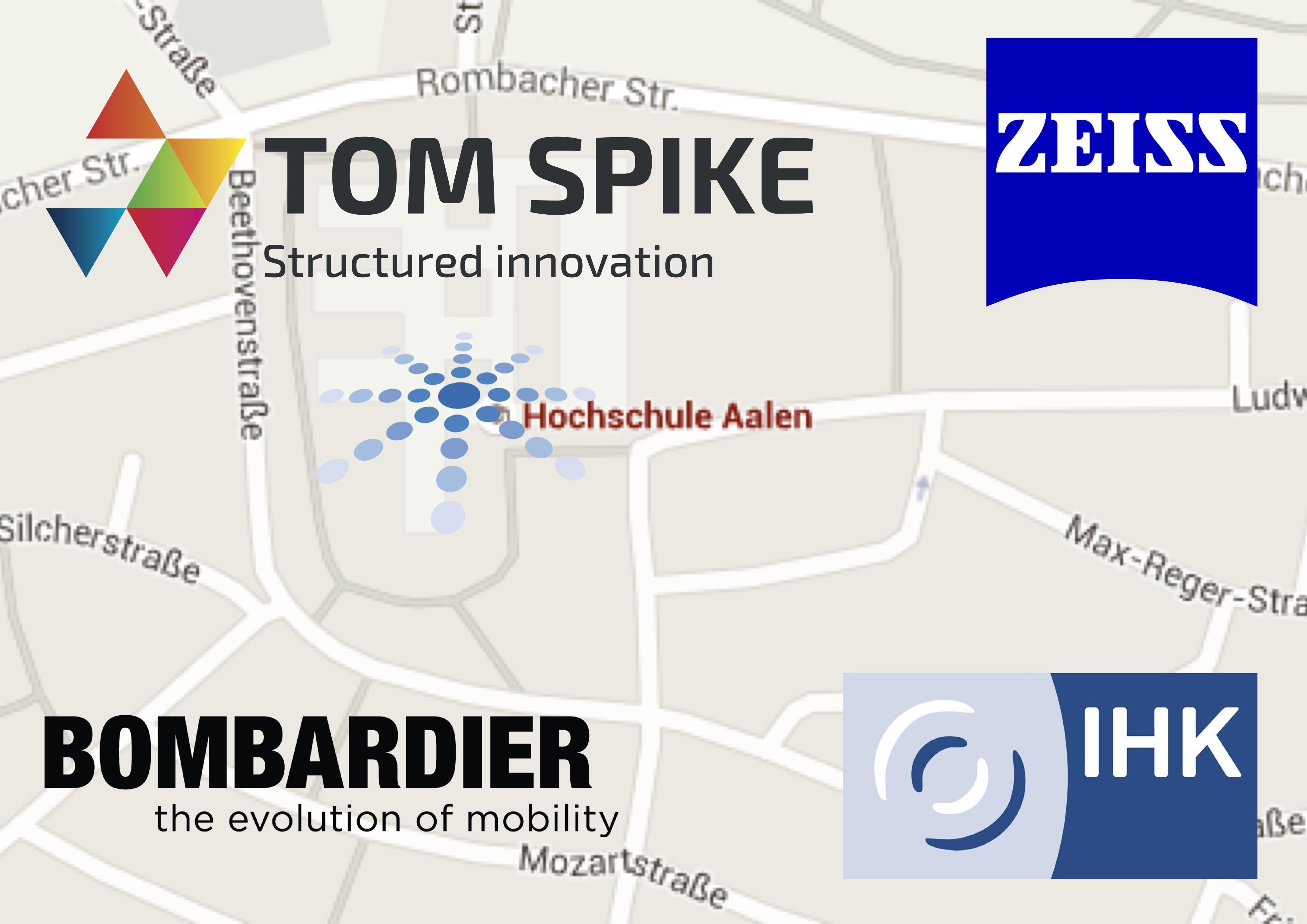 Karte Des Campus Hochschule Aachen Mit Innovationsworkshopteilnehmer-Logos TOM SPIKE, Zeiss, Bombardier, IHK