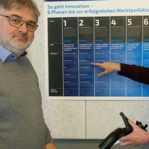 Thomas Seffern Und Innovationsberater Thomas Nagel Vor Der Technologie-Roadmap