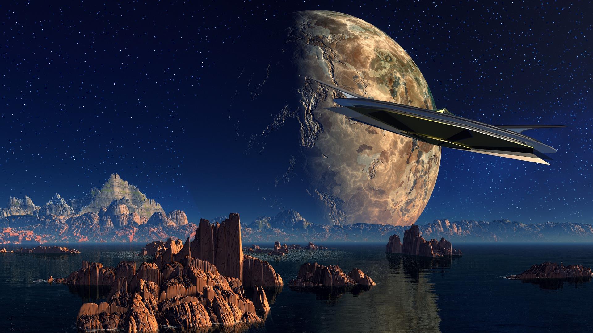 Mondlandschaft Mit Sternenhimmel Und Raumschiff Als Symbole Für Zukunft Und Innovation