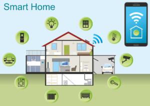 Smart Home Grafik Mit Smartphone Haus Und Interagierenden Systemen