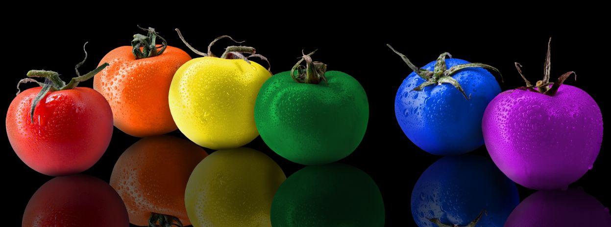 Tomaten in den Farben rot, orange, gelb, grün, blau und violett