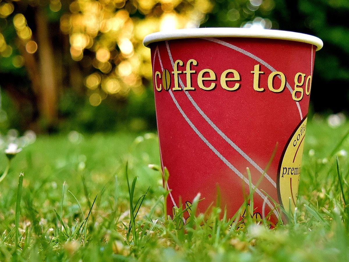Roter Einwegkaffeebecher auf einer grünen Wiese