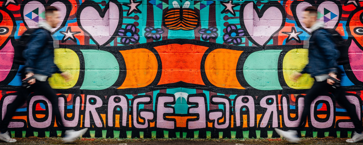 Rechtschreibung Graffiti Streetart Courage