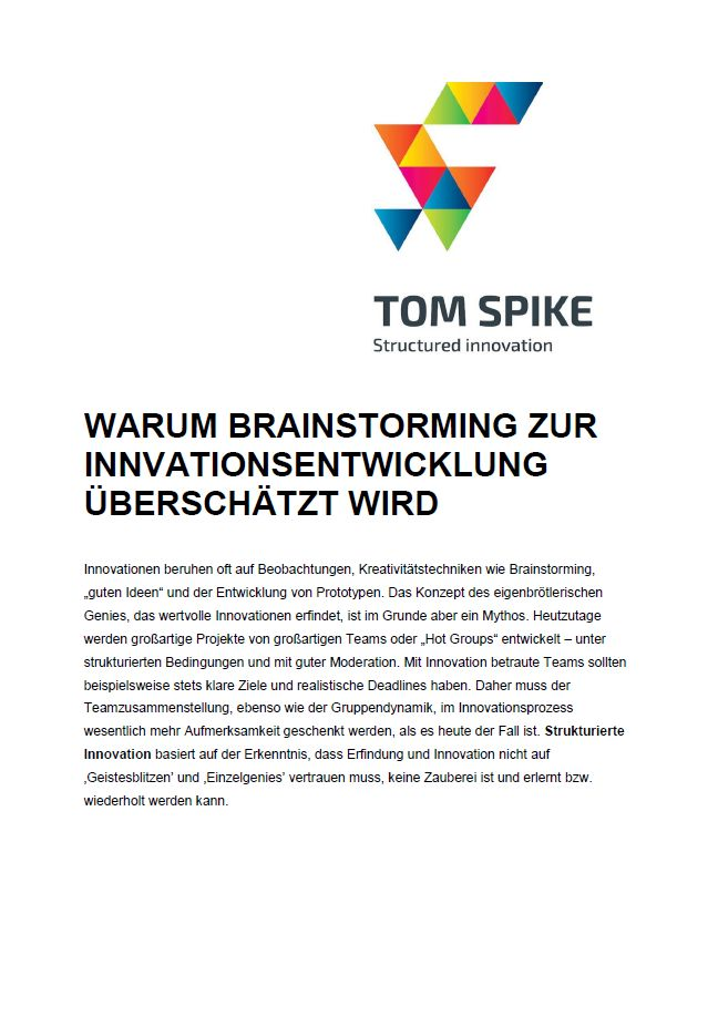 Innovation White Paper Deckblatt mit TOM SPIKE Logo, Überschrift und Abstract