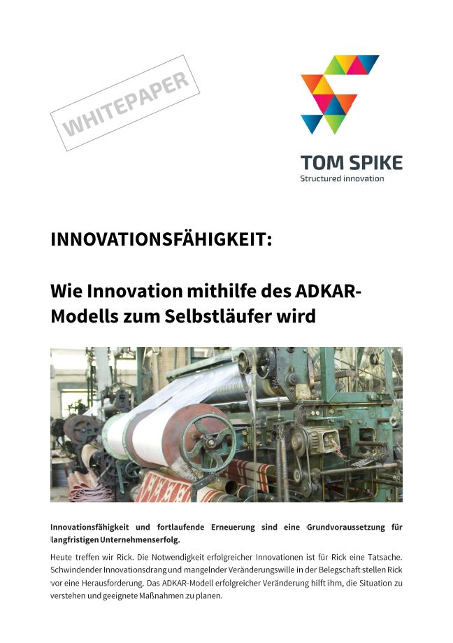 Innovation White Paper Deckblatt mit antiker Textilmaschine