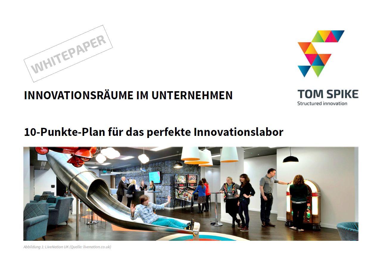 Innovation White Paper Deckblatt mit Rutsche, Bar, Juke Box und Publikum