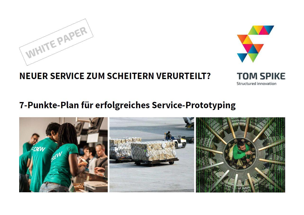 Innovation White Paper Deckblatt mit Service Team, Paketwagen und Monteur