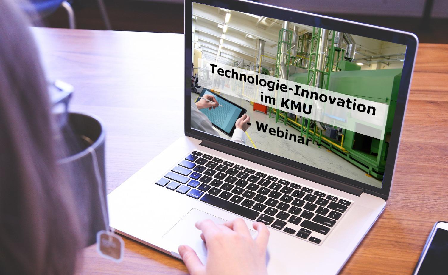 Notebook mit Vorschau auf Webinar Technologie-Innovation im KMU - TOM SPIKE