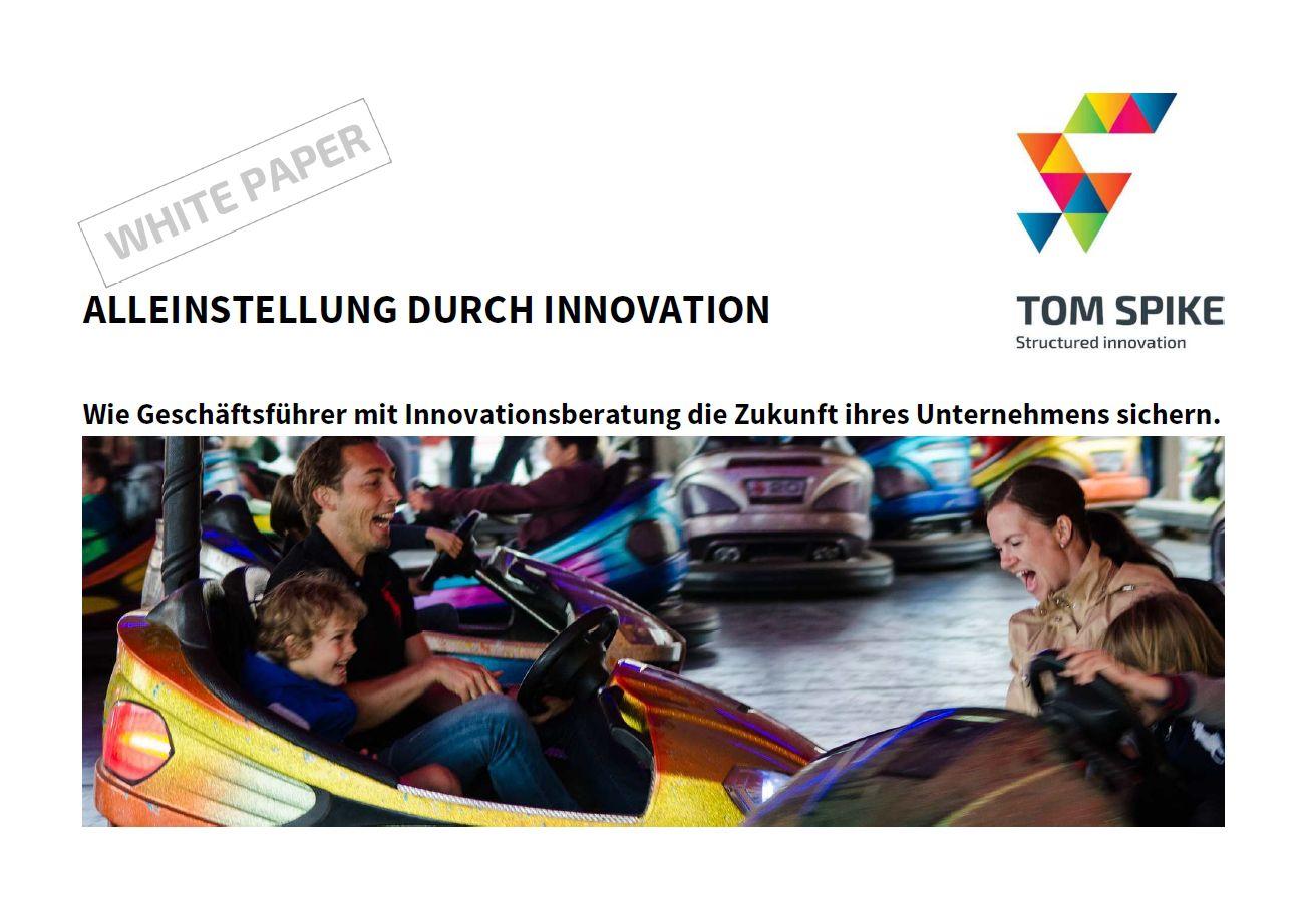 Innovation White Paper Deckblatt mit Autoscooter und lachenden Gesichtern