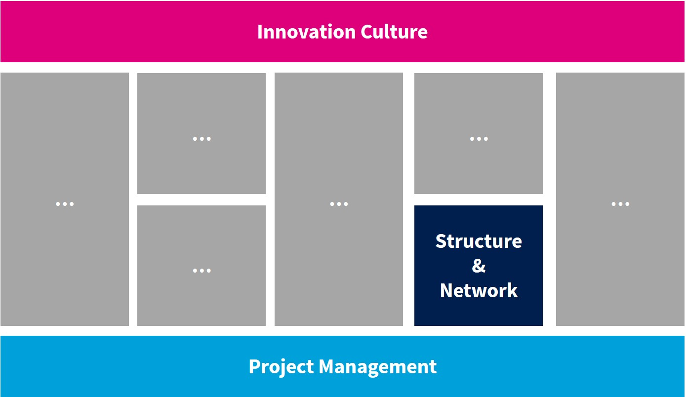 Innovationssystem mit 9 Handlungsfeldern u.a. Culture, Project Management und Structure Network - TOM SPIKE