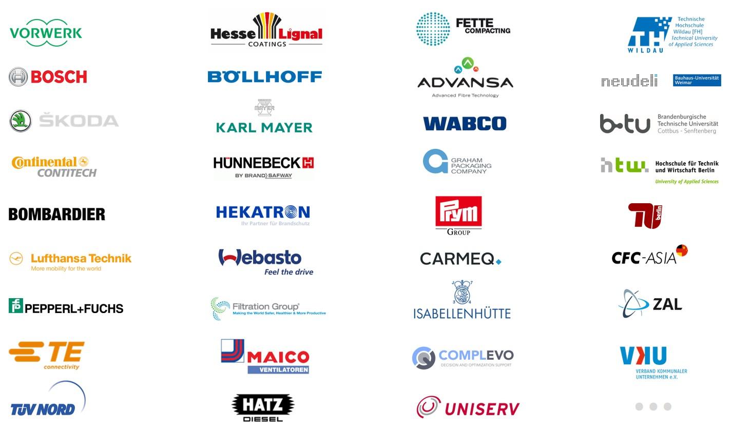 Logos von Industrieunternehmen und Technologieunternehmen als Übersicht der Referenzen der Innovationsberatung TOM SPIKE