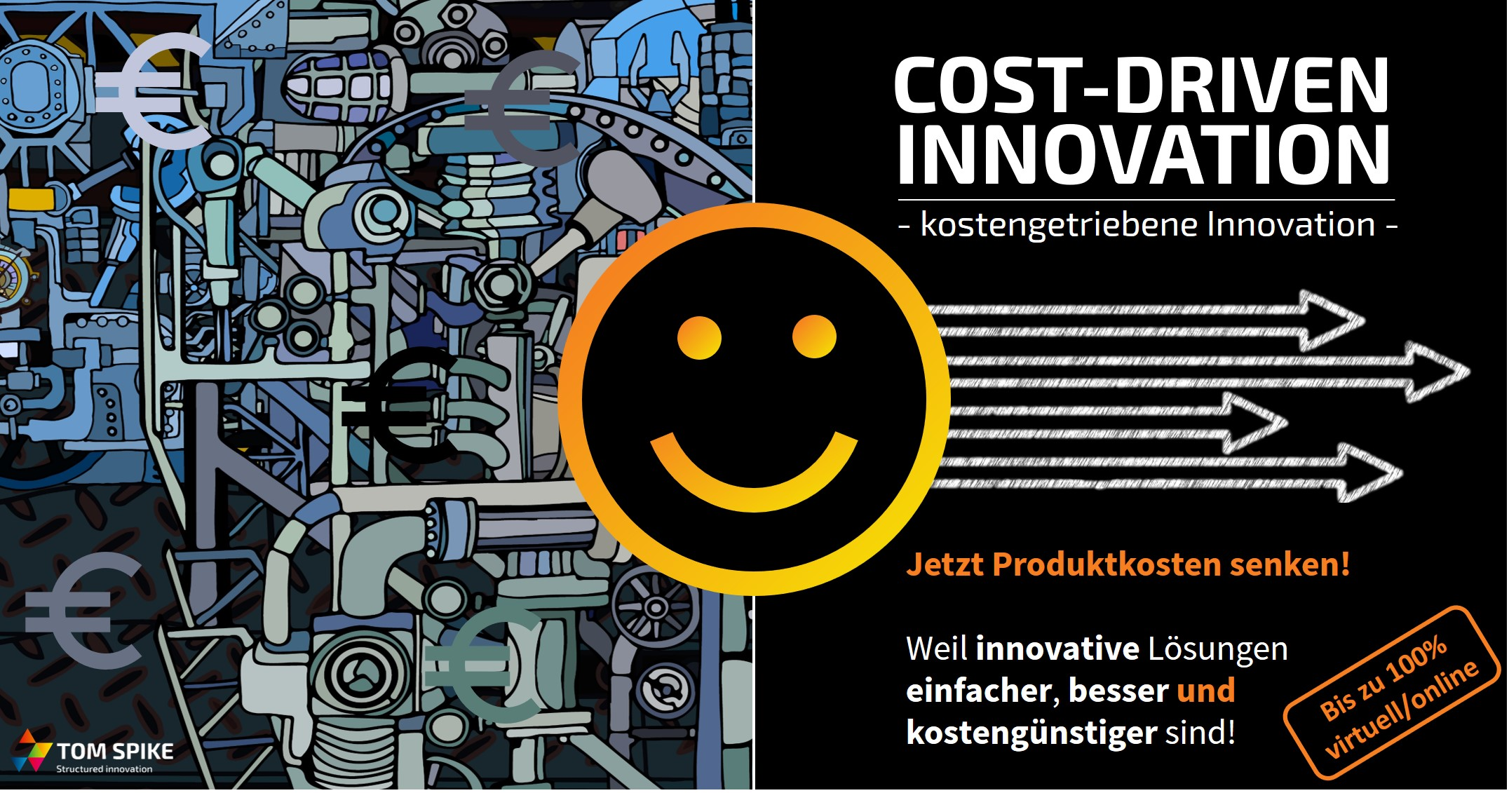 Komplexe Technik Mit Smiley Zur Visualisierung Von Cost-Driven Innovation - TOM SPIKE